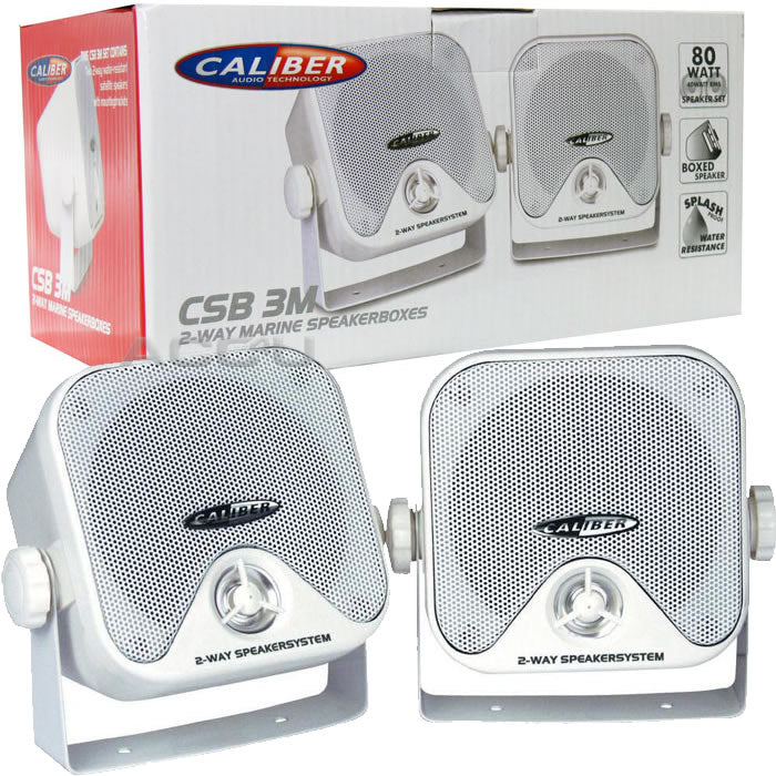 Caliber CSB3M Car Van Motorhome Boat Water Resistant White Pod Speakers With Brackets