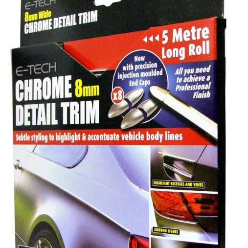 E-Tech 8mm CHROME Car Detail Body Door Trim Lights Bumper Protection Styling Strip Kit