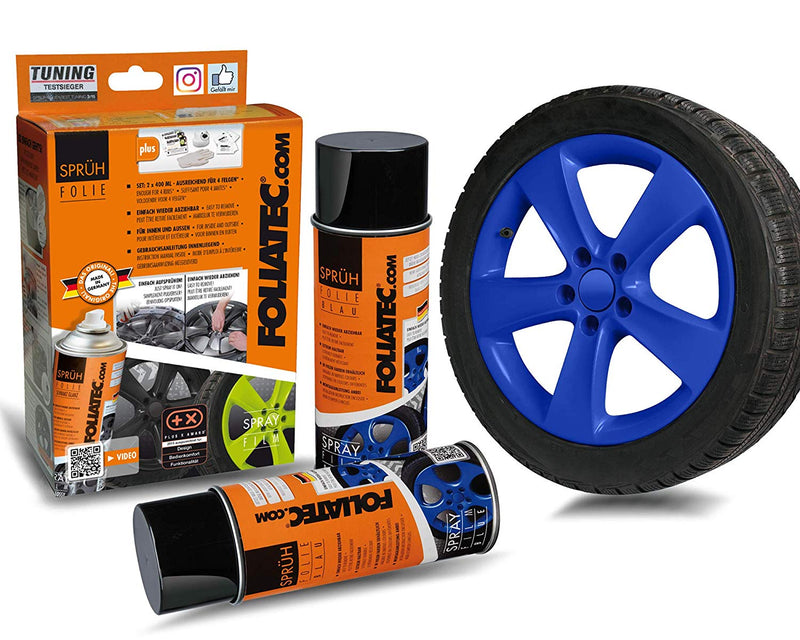 Foliatec Blue FT2054 Car Alloy Wheels Bike Boat Peelable Protective Film Spray Paint Set