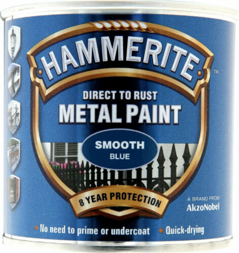 Hammerite Smooth BLUE Finish Direct To Rust Quick Drying Metal Paint 250ml Tin