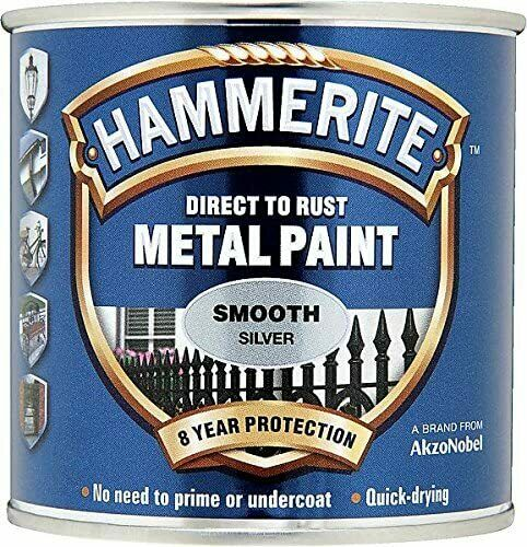 Hammerite Smooth SILVER Finish Direct To Rust Quick Drying Metal Paint 250ml Tin