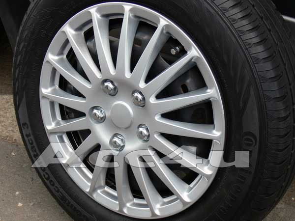"16"" Silver Lightning Multi Spoke Car Wheel Trims Hub Caps Covers Set+Dust Caps+Ties"
