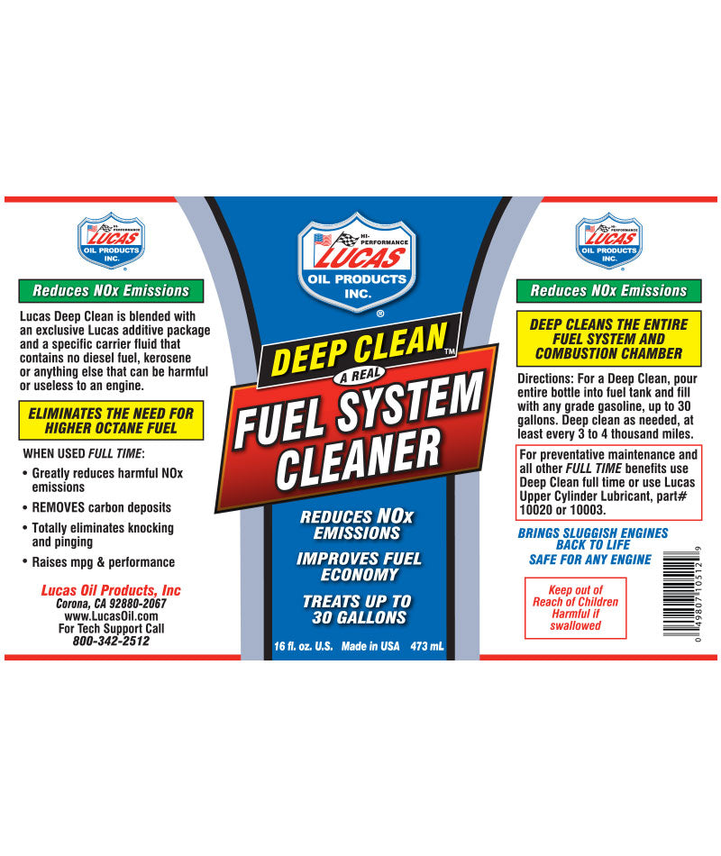 Lucas Oil Car Engine Deep Clean Fuel Injector Emissions System Cleaner 473ml