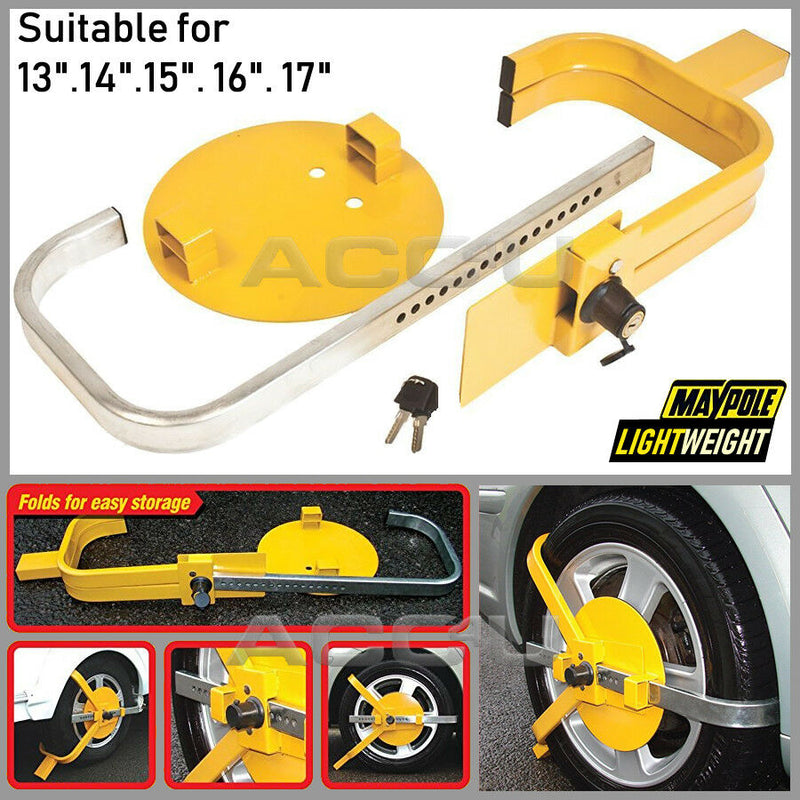 "Maypole Car Caravan Van Trailer High Security Heavy Duty 13"" - 17"" inch Wheel Clamp"