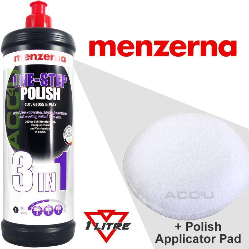 Menzerna 3in1 Car Body Paint One Step Cut, High Gloss & Wax Polish 1 Litre+Pad