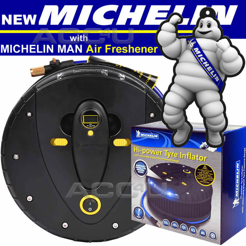 Michelin 12260 12v Car Tyre Air Compressor Inflator & Detachable Pressure Gauge