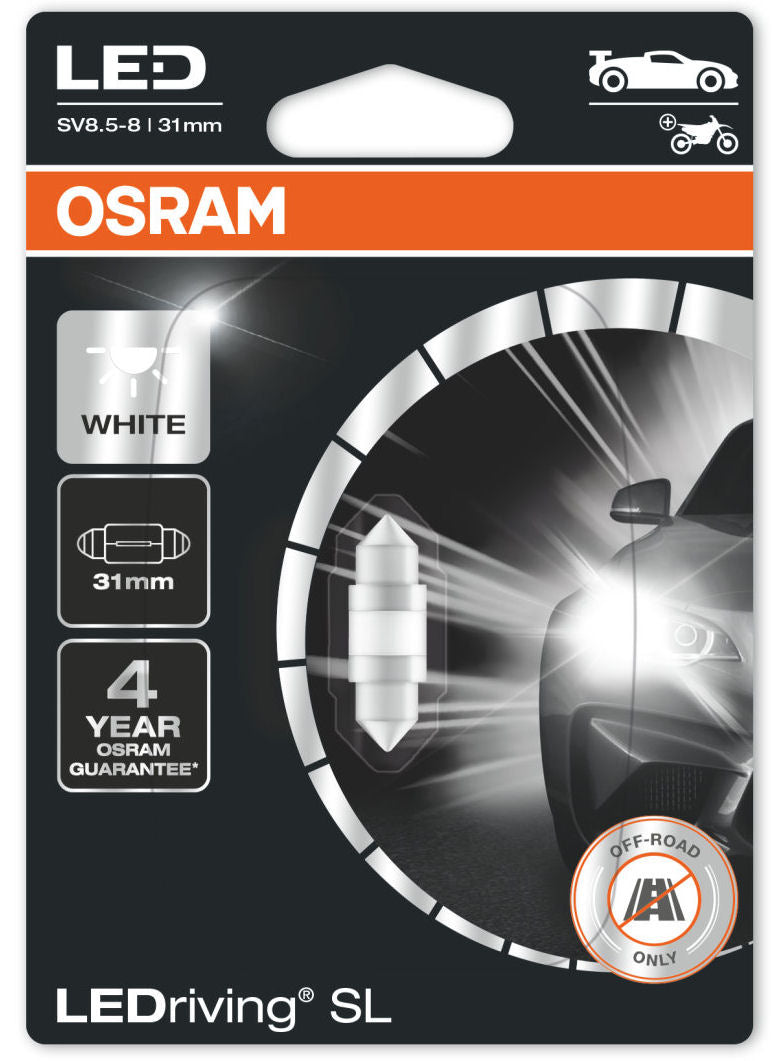 Osram LEDriving SL 12v Car SV8.5-8 S8.5d 31mm Festoon Interior White LED Bulb