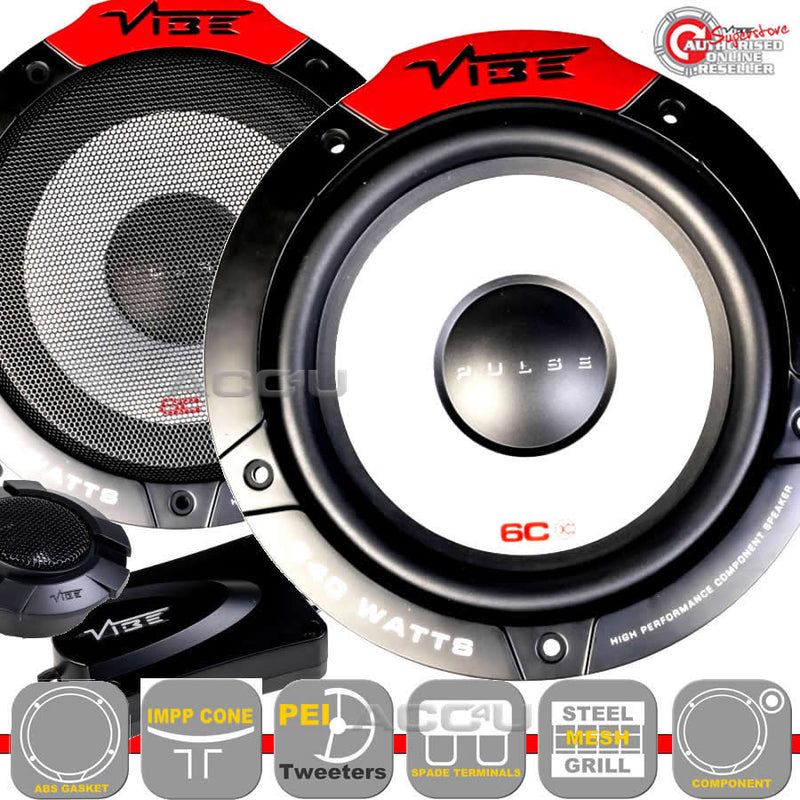 "Vibe Pulse 6C 480w 6.5"" inch 165mm Car Door Component Speakers System Set"