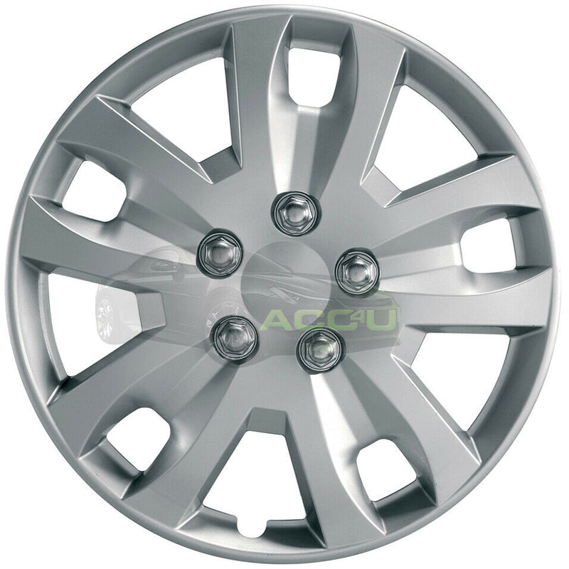 "16"" Silver Gyro Spyder Sports Look Car Wheel Trims Hub Caps Covers Set+Dust Caps+Ties"