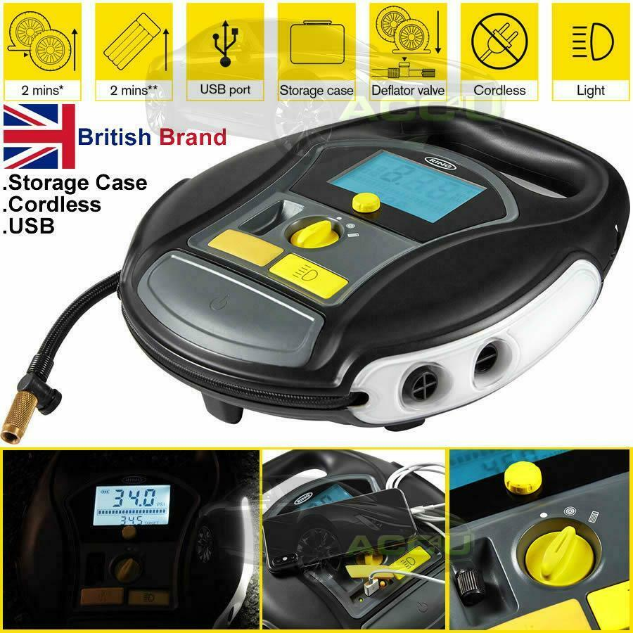 Ring RTC6000 Cordless Rechargeable Car Tyre Air Compressor Air Bed Inflator Pump