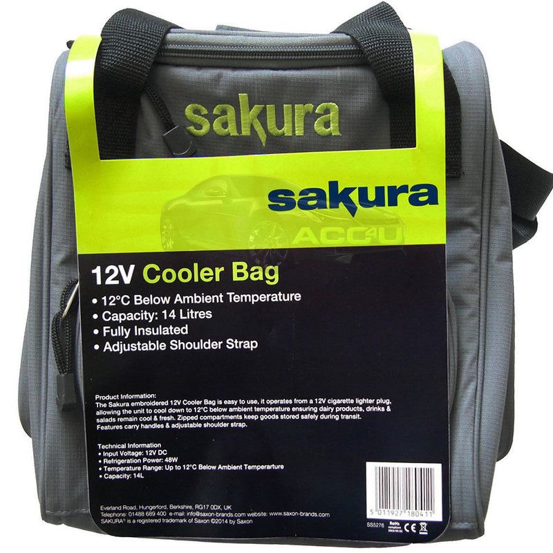 Sakura 12v DC Car Plug 14L Portable Camping Travel Fridge Cooler Cool Box Bag