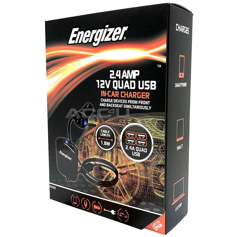 Energizer 50528 12v 24v In Car Truck 2.4A Quad 4 USB Socket Power Adapter Fast Charger