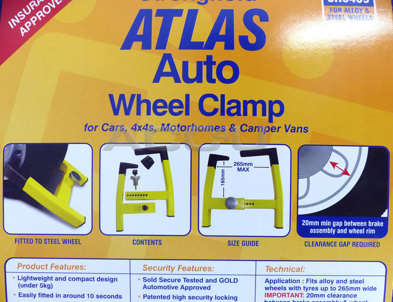 Stronghold SH5439 Atlas Insurance Approved Car Motorhome Hi Security Wheel Clamp