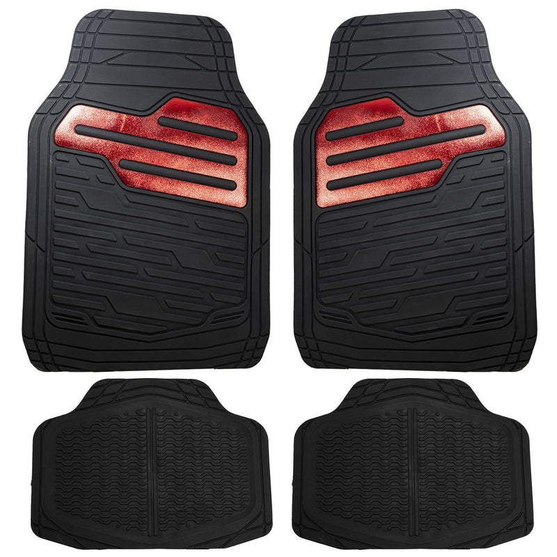 Adonia Black Metallic Red Heel Pad Heavy Duty Car Rubber Mats Set Of 4