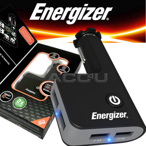 12V ENERGIZER Quad USB Charger with Dual Extender 50528 2.4A