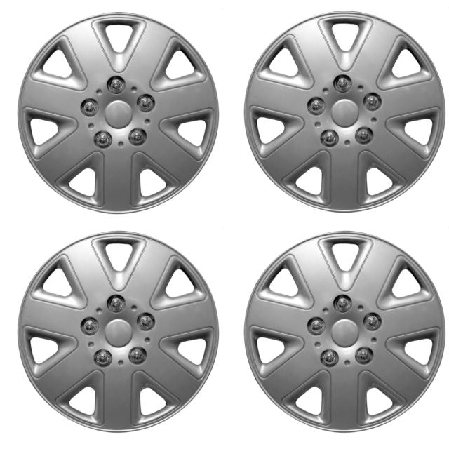 "15"" Silver 7 Spoke Hurricane Car Wheel Trims Hub Caps Covers Set+Dust Caps+Ties"