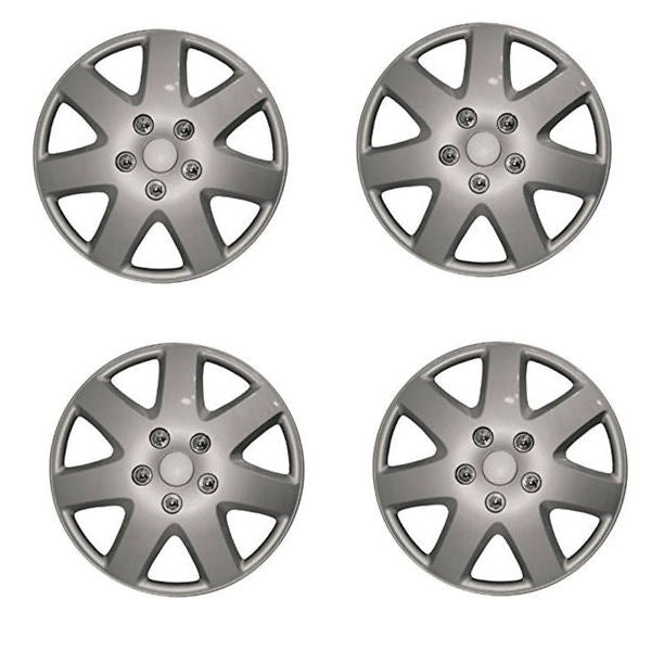 "14"" Silver Tempest Multi Spoke Car Wheel Trims Hub Caps Covers Set+Dust Caps+Ties"
