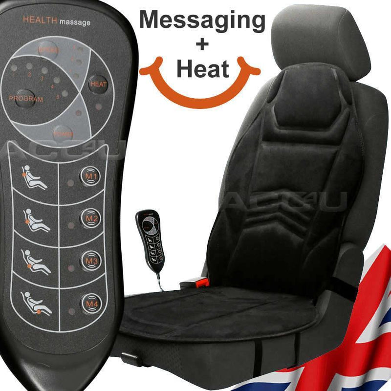 12v Plug Car Van Taxi 5 Function Back Heated Heat Massaging Single Seat Cushion