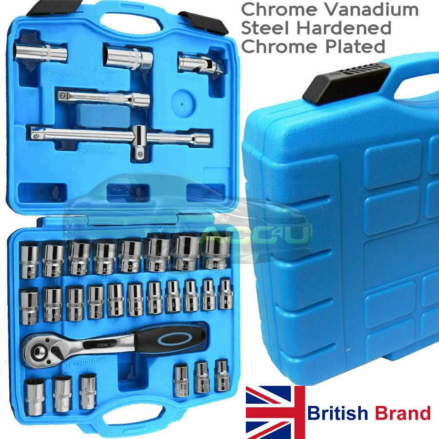 "32 Piece Hardened Chrome Plated 1/2"" inch Drive CRV Socket Ratchet Tool Set Case"