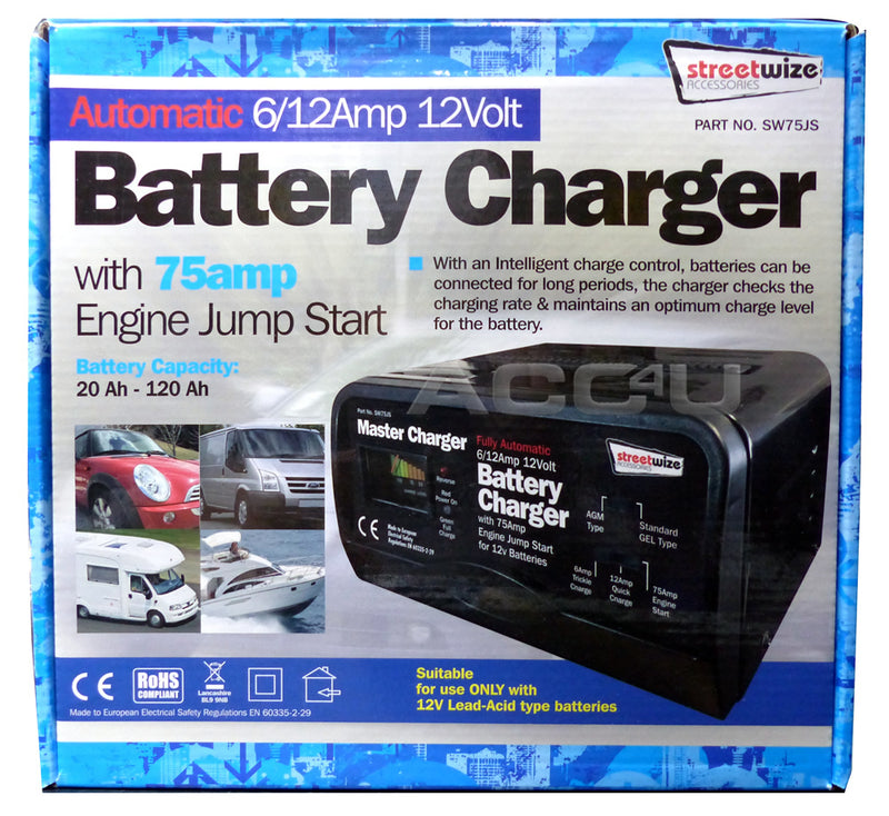 12v 6/12A Automatic Car Van Marine 120Ah Battery Charger With 75A Jump Start Starter