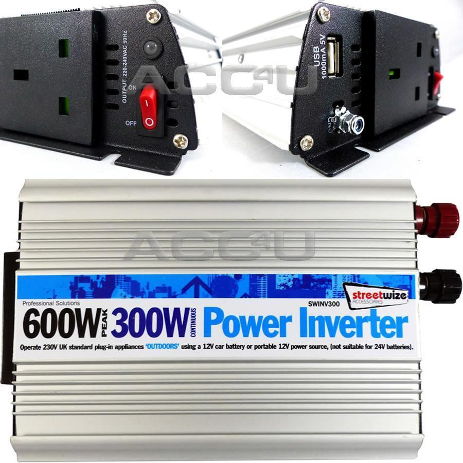 12v Car Battery to 230v Home Mains Socket USB 600w Peak Power Inverter SWINV300