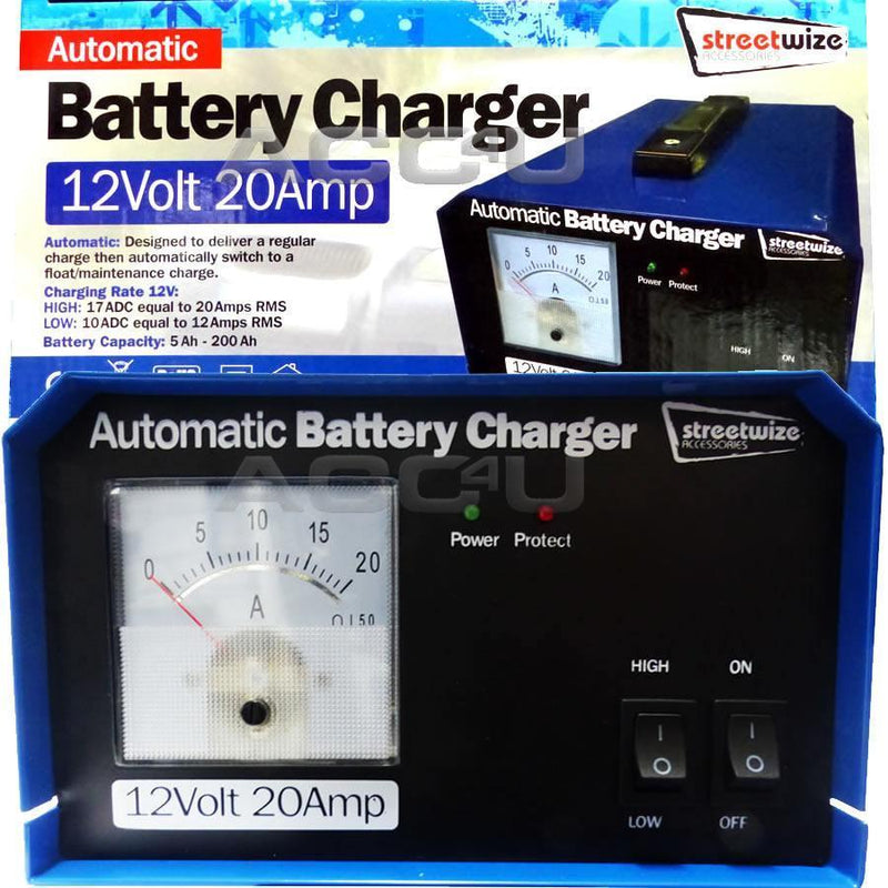 SW 12v 20A 200Ah Car Caravan Motorhome Automatic Maintenance Battery Charger