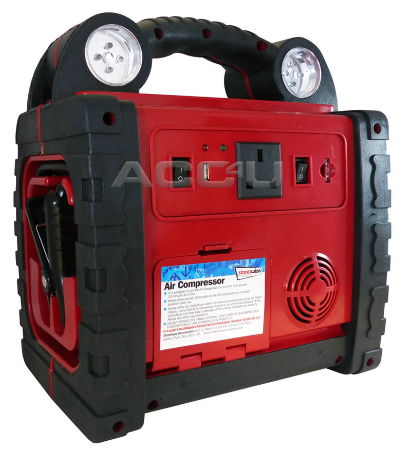 12v 900A Portable Car Battery Jump Starter Air Compressor Inverter Power Pack Station