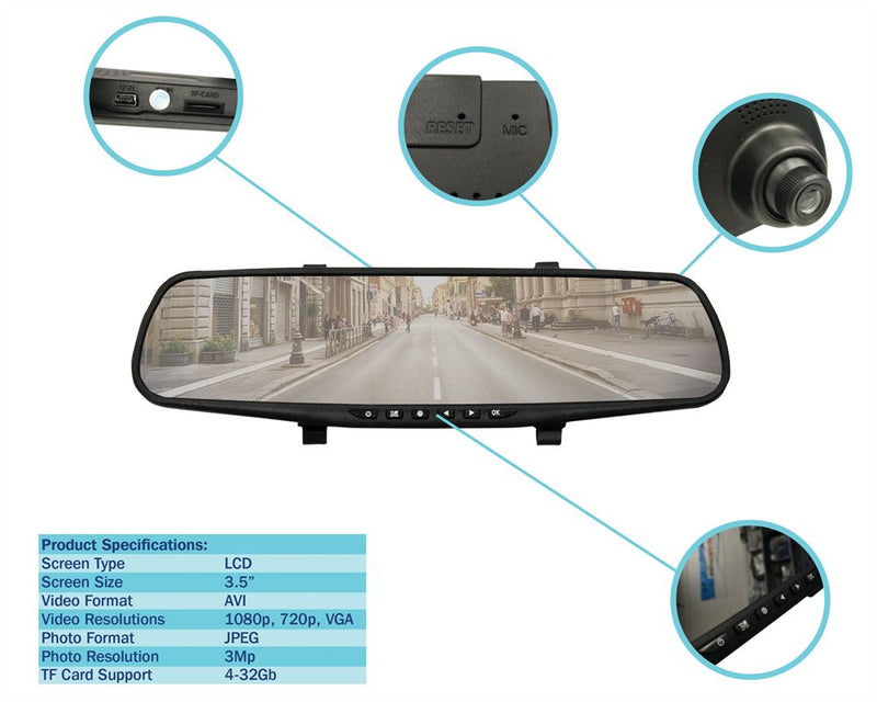 In Car Interior Rear View Mirror Mount HD Dash Cam Camera Video Journey Recorder