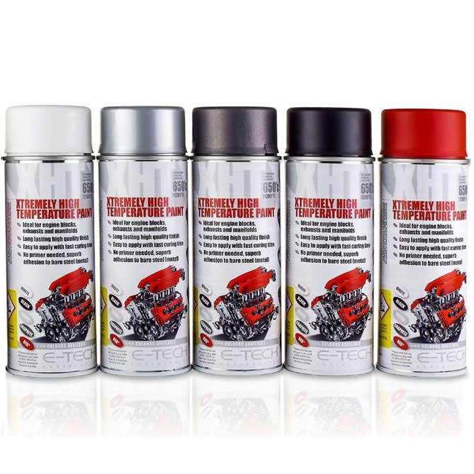 E-Tech BLACK XHT Xtremely High Temperature Car Engine Blocks Exhaust Spray Paint Can
