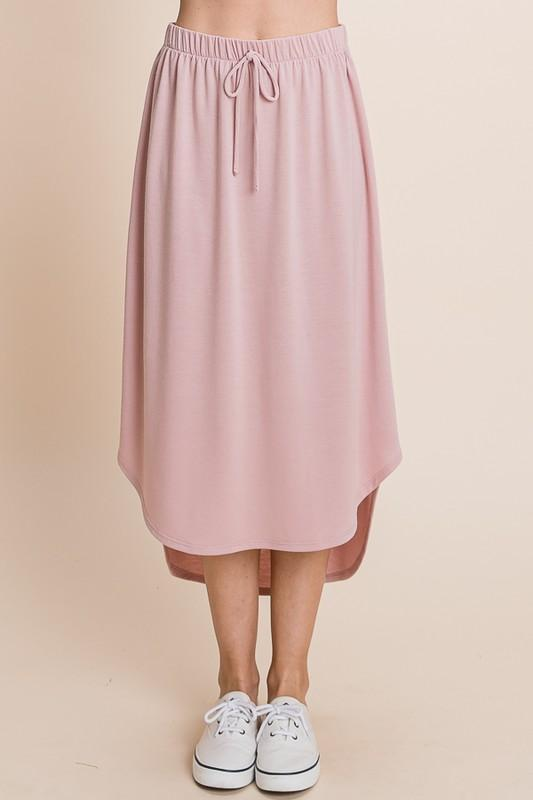 Drawstring Hi-Low Skirt (Mauve)