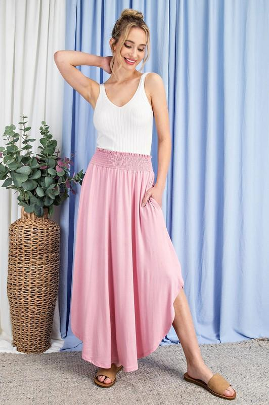 High-Rise Swing Maxi Skirt (Dusty Pink)