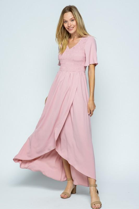 Emery Blush Chiffon Maxi Dress