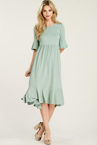 Ruffle Midi Layering Dress (Mint)