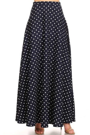 Polka Dot Maxi Ball Gown (Navy)