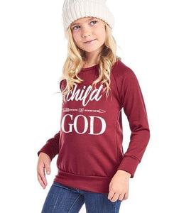 GIRLS Child of God Sweater (Burgundy)