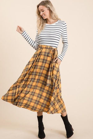 Christina Plaid Midi Dress (Mustard)