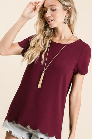 Jessa Scallop Blouse (Plum)