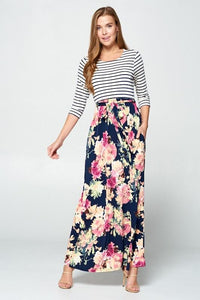 Classic Rose Maxi Dress-Watercolor