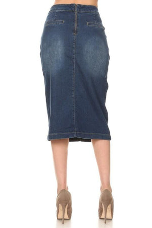 Flat Front Light Wash Denim Skirt