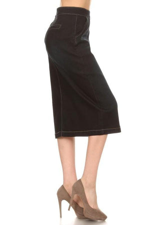 Flat Front Black Wash Denim Skirt