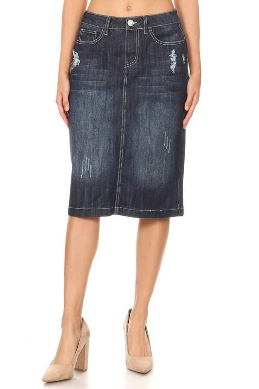 Everly Distressed Denim Skirt