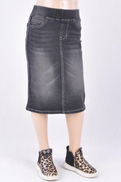 GIRLS Classic Waistband Denim Skirt (BLK)