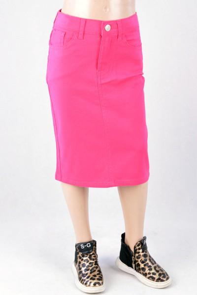 GIRLS Fuchsia Twill Skirt
