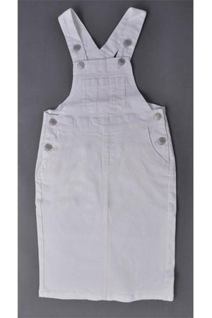 GIRLS Bree Denim Overalls (White)
