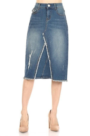 Heavenly Distressed Denim Skirt (Vintage)
