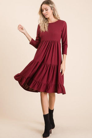 Swiss Dot Southern Bell Dress (Burgundy)