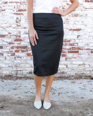 Black Ultra Comfort Ponte Knit Skirt (Midi length)