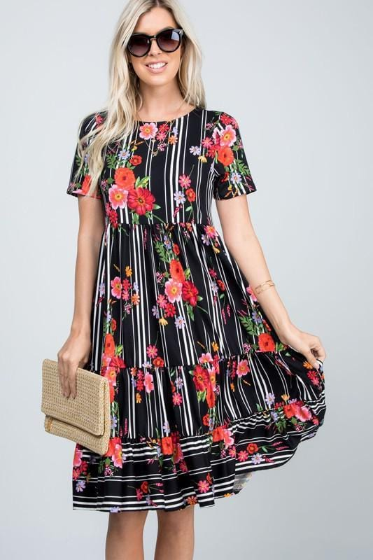 Tiered Garden Swing Dress (Black)