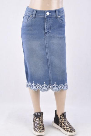 GIRLS Forever Lace Denim Skirt (Vintage)
