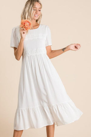 Half Lace Tiered Dress